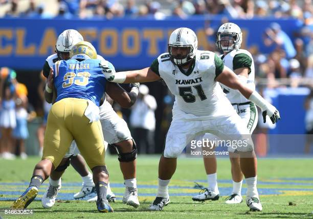 Hawai'i John Wa'a blocks during a college football game between the Hawai'i Rainbow Warriors and the UCLA Bruins on September 09 2017 at the Rose...