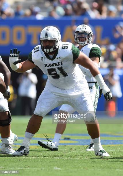 Hawai'i John Wa'a guards during a college football game between the Hawai'i Rainbow Warriors and the UCLA Bruins on September 09 2017 at the Rose...