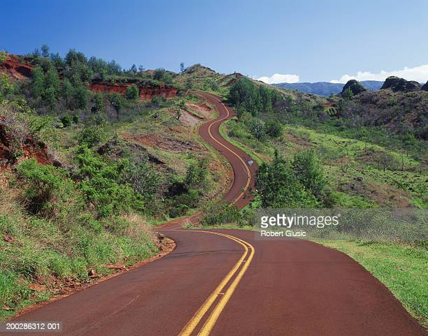 USA, Hawaii, Kauai Island, Waimea Canyon, empty road