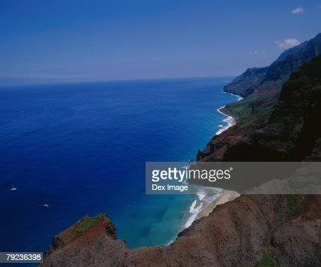 USA, Hawaii, Kauai, mountainous coastline, aerial view : Stock Photo