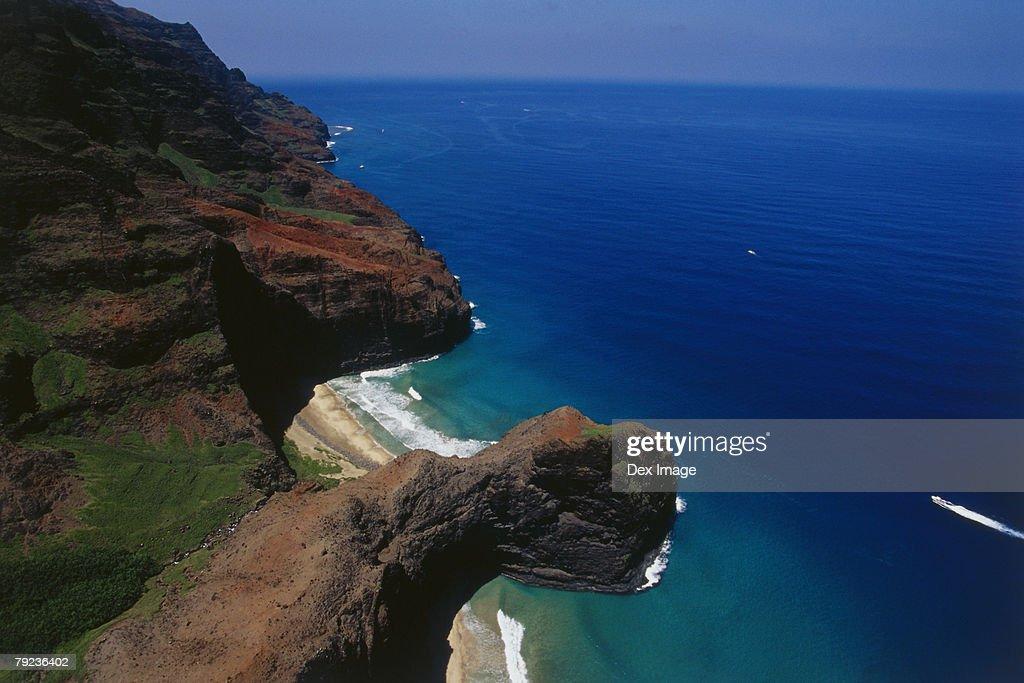 USA, Hawaii, Kauai, mountainous coastline, aerial view : Stock Photo