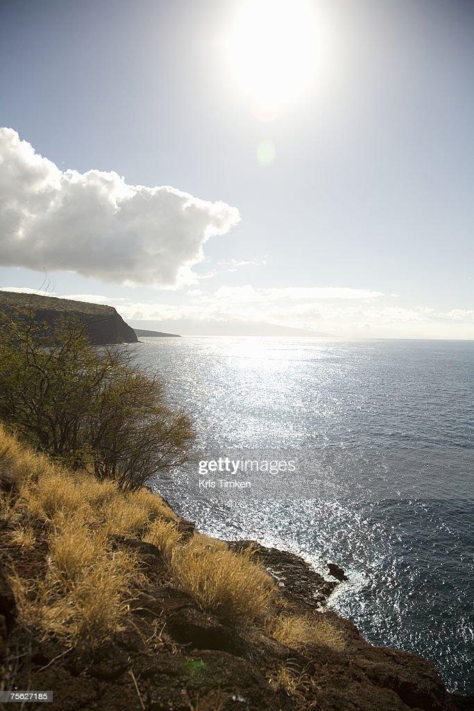 USA, Hawaii, Lanai, view of coastline at sunrise : Stock Photo
