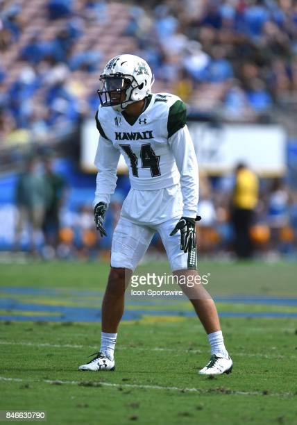 Hawai'i Manu HudsonRasmussen lines up before the start of the play during a college football game between the Hawai'i Rainbow Warriors and the UCLA...