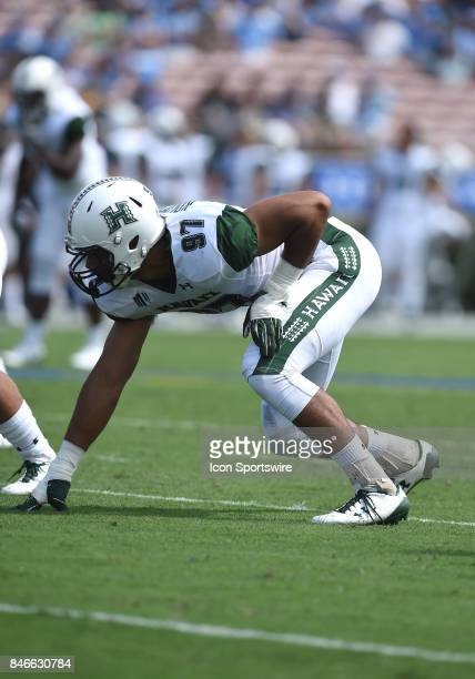Hawai'i Meffy Koloamatangi lines up in his stance during a college football game between the Hawai'i Rainbow Warriors and the UCLA Bruins on...
