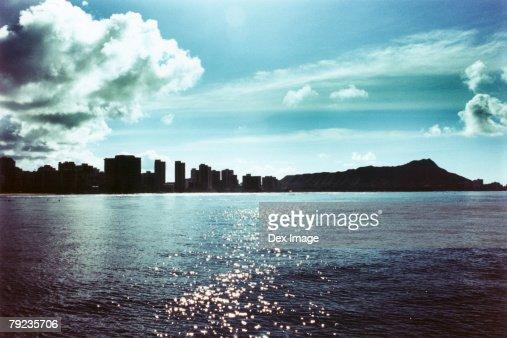 USA, Hawaii, Oahu, Diamond Head in background : Stock Photo