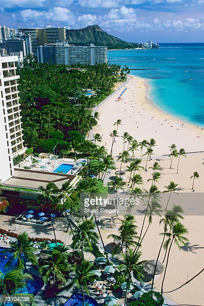 USA, Hawaii, Oahu, Honolulu, Wakiki, Waikiki Beach and Diamond Head, elevated view