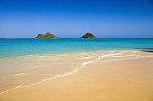 Hawaii, Oahu, Lanikai Beach, Mokulua Islands, scenic landscape on a bright day