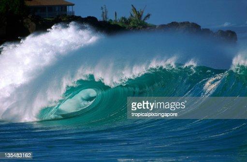 USA Hawaii O'ahu, North Shore, Waimea Bay.