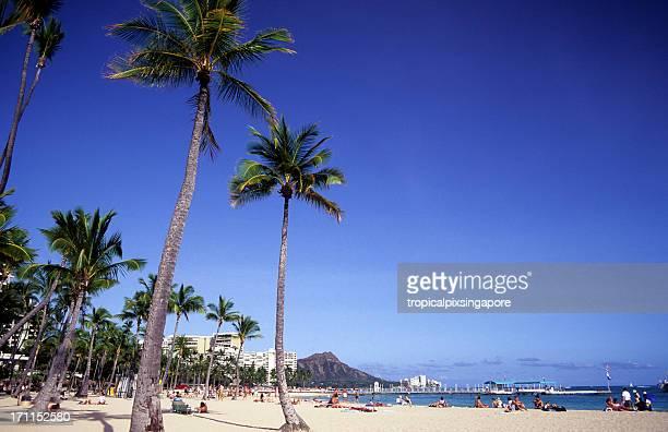 USA Hawaii O'ahu, Waikiki and Diamond Head.