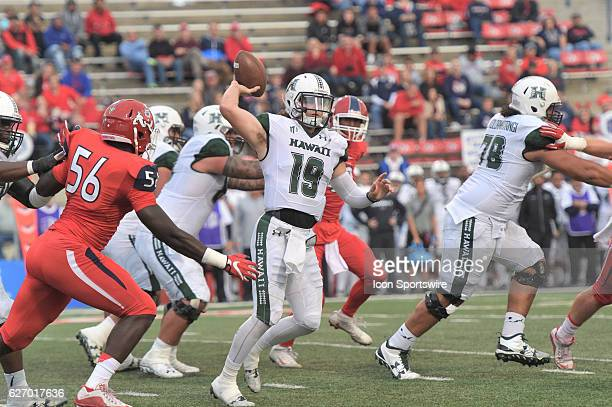 Hawaii quarterback Dru Brown during the game between the Fresno State Bulldogs and the Hawaii Rainbow Warriors on November 19 2016 Hawaii defeated...