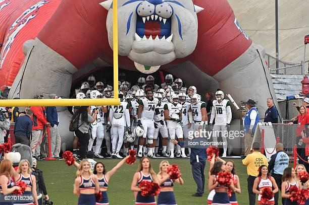 Hawaii Rainbow Warriors prepare to take the field to start the game between the Fresno State Bulldogs and the Hawaii Rainbow Warriors on November 19...