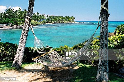 Hawaii resort hotel beach side Pacific ocean front hammock