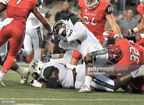 Hawaii tight end Metuisela Unga during the game between the Fresno State Bulldogs and the Hawaii Rainbow Warriors on November 19 2016 Hawaii defeated...