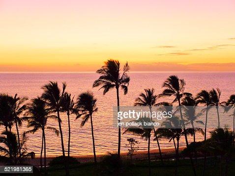 USA, Hawaii, Wailea Pastel Colors Sunset
