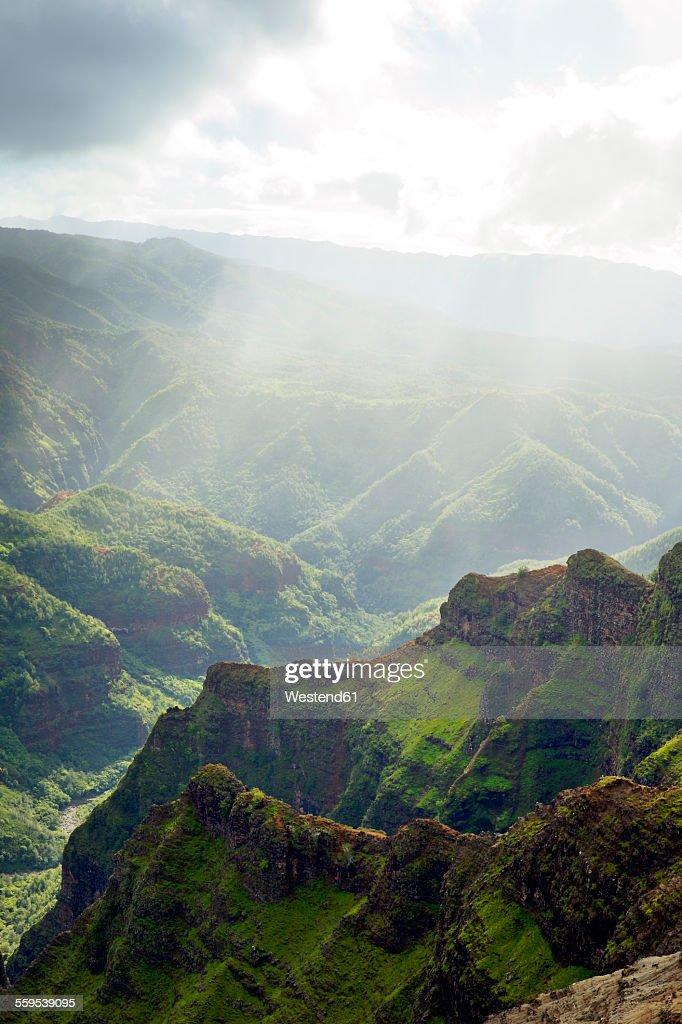 USA, Hawaii, Waimea, View to Waimea Canyon State Park