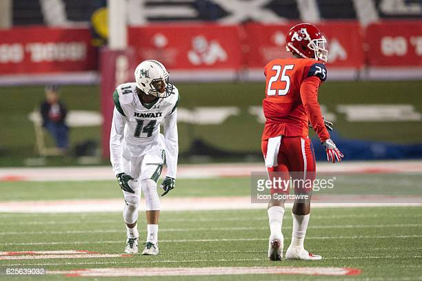 Hawaii Warriors wide receiver Marcus Kemp gets set at the line during the game between the Fresno State Bulldogs and the Hawaii Rainbow Warriors on...