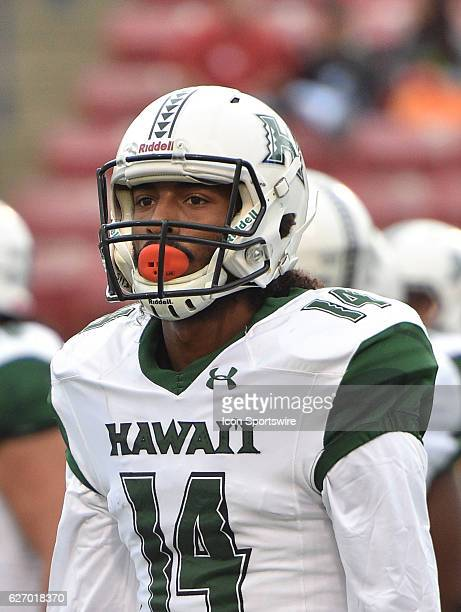 Hawaii wide receiver Marcus Kemp during the game between the Fresno State Bulldogs and the Hawaii Rainbow Warriors on November 19 2016 Hawaii...