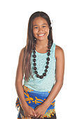 This beautiful young lady encompasses the Spirit of Aloha with a hula sarong and kukui shell (nut) necklace around her neck.  A beautiful flower is in her long black hair to complete the look   Image