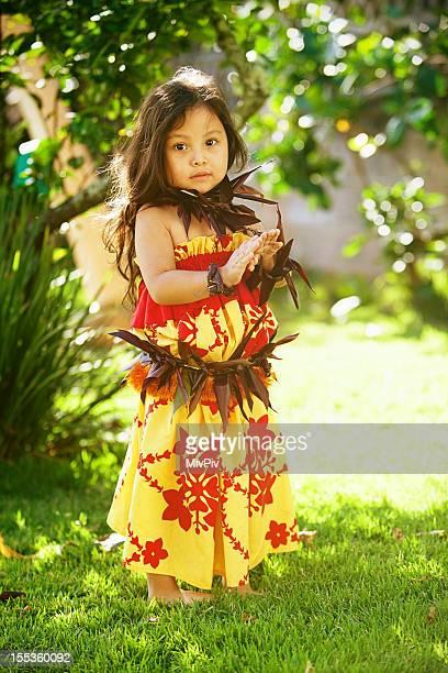 Hawaiian girl showing basic Hula poses