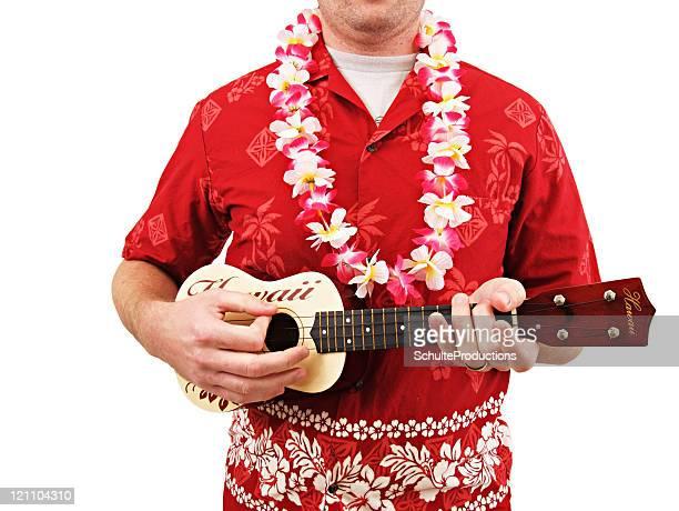 Hawaiihemd Lei und Ukulele