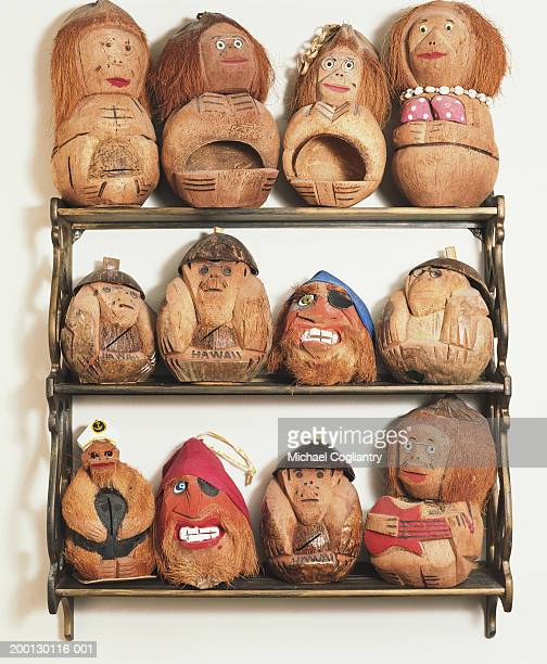 Hawaiian souvenirs carved from coconuts