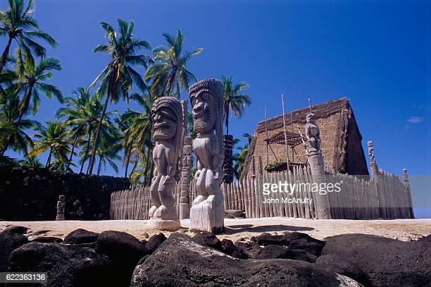 Hawaiian Tikis at Pu'uhonau O Honaunau National Historic Park