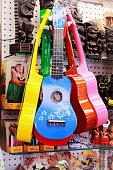 Hawaiian ukuleles for sale at market stall in Waikiki