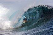 Hawaii's Sebastian Zietz competes in the 2015 Billabong Pro Tahiti World Surf league tour n°3 along the Teahupo'o coast western of the French...