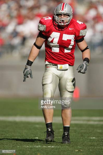 J Hawk of the Ohio State Buckeyes is seen on the field during the game against the Penn State Nittany Lions at Ohio Stadium on October 30 2004 in...