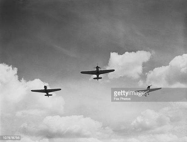 Hawker Hurricanes of the RAF take to the skies during World War II August 1940