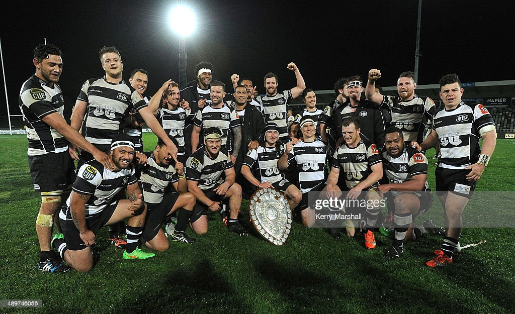 Hawkes Bay celebrate with the Ranfurly Shield following the ITM Cup match between Hawke's Bay and Auckland at McLean Park on September 24 2015 in...