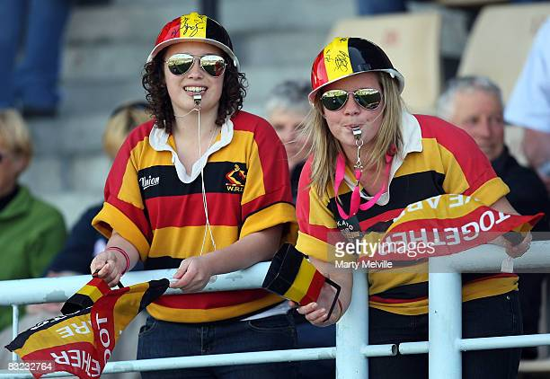 Hawkes Bay fans celebrate during the Air New Zealand Cup quarterfinal match between the Hawkes Bay Magpies and Waikato at McLean Park on October 12...