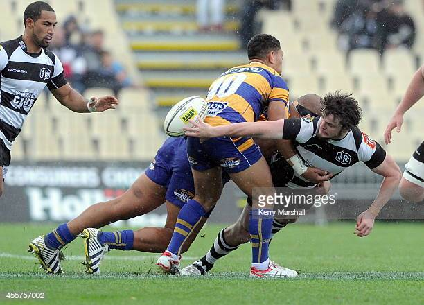 Hawkes Bay's Richard Buckman gets a pass away during the Ranfurly Shield match between Hawke's Bay and Bay of Plenty on September 20 2014 in Napier...