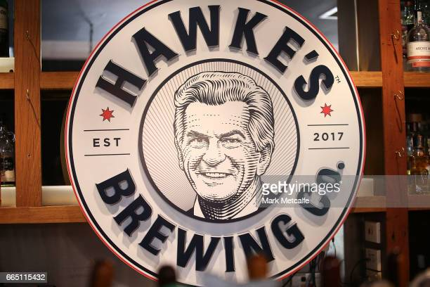 Hawke's Brewing Company sign is seen behond the bar at the launch of Hawke's Lager at The Clock Hotel on April 6 2017 in Sydney Australia The former...