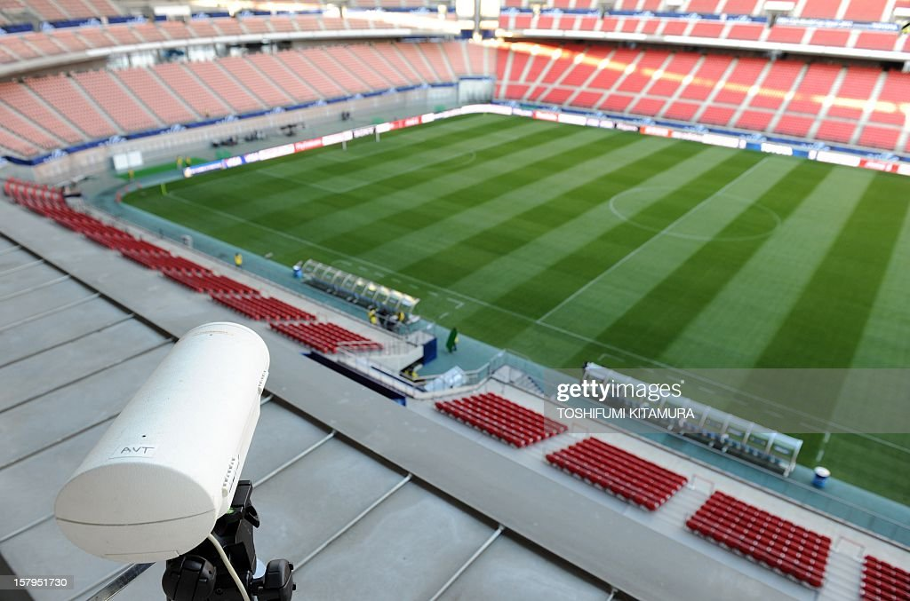 A Hawk-Eye camera (bottom L) is pictured installed pointed toward a goal during a demonstration of the Hawk-Eye Innovations system at Toyota stadium in Toyota, Aichi prefecture on December 8, 2012 which is being used in the 2012 Club World Cup tournament in Japan. Hawkeye, which is familiar from tennis and cricket and uses cameras to track a ball's position and trajectory, will be tested at the competitions in Toyota. The ninth edition of the FIFA Club World Cup football tournament is taking place from December 6 to 16.
