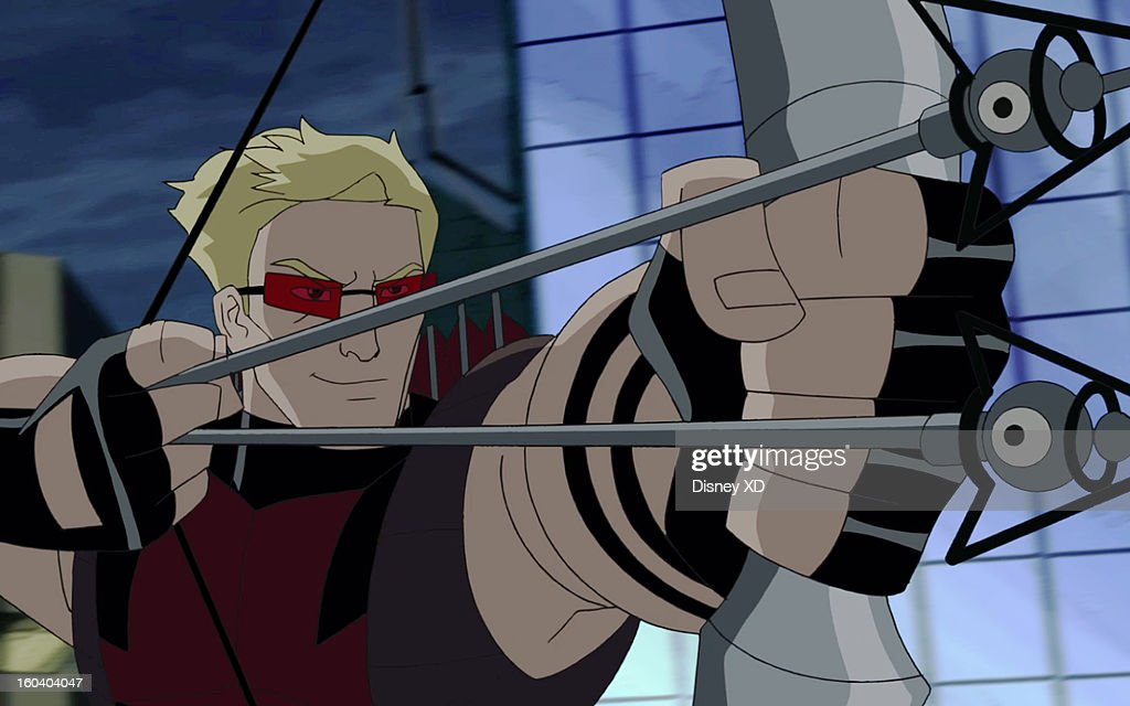 MAN - 'Hawkeye' - Spider-Man and Hawkeye are forced to team up when the armored mercenary The Beetle returns to New York City. This new episode of 'Ultimate Spider-Man' airs on SUNDAY, FEBRUARY 10 (11:00 -11:30 a.m., ET/PT) on Marvel Universe on Disney XD. (Marvel via Getty Images) HAWKEYE