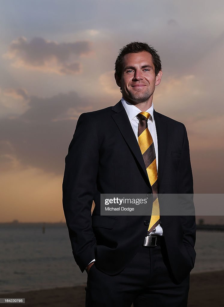 Hawks Captain <a gi-track='captionPersonalityLinkClicked' href=/galleries/search?phrase=Luke+Hodge&family=editorial&specificpeople=241521 ng-click='$event.stopPropagation()'>Luke Hodge</a> poses during the Hawthorn Hawks Season Launch and Hall of Fame presentation at Encore St Kilda on March 21, 2013 in Melbourne, Australia.