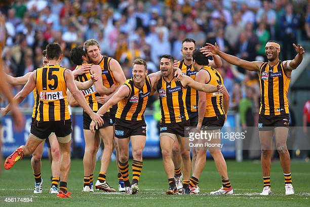 Hawks celebrate winning the 2014 AFL Grand Final match between the Sydney Swans and the Hawthorn Hawks at Melbourne Cricket Ground on September 27...