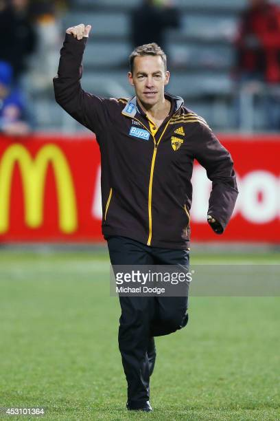 Hawks coach Alastair Clarkson celebrates the win during the round 19 AFL match between the Hawthorn Hawks and the Western Bulldogs at Aurora Stadium...