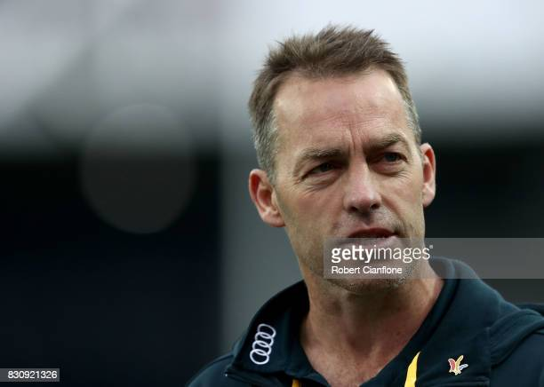 Hawks coach Alastair Clarkson is seen at the break during the round 21 AFL match between the Hawthorn Hawks and the North Melbourne Kangaroos at...
