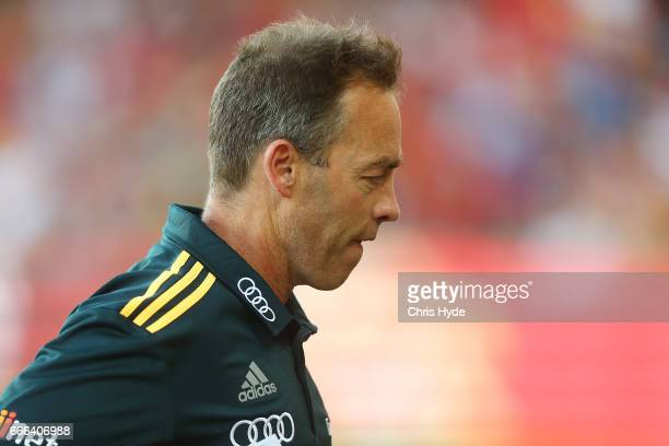 Hawks coach Alastair Clarkson looks on during the round three AFL match between the Gold Coast Suns and the Hawthorn Hawks at Metricon Stadium on...
