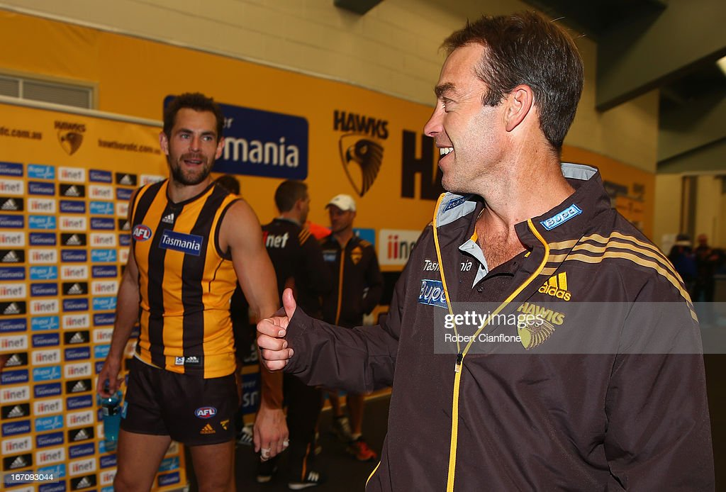 Hawks coach Alastair Clarkson smiles after the Hawks defeated the Dockers at the round four AFL match between the Hawthorn Hawks and the Fremantle Dockers at Aurora Stadium on April 20, 2013 in Launceston, Australia.