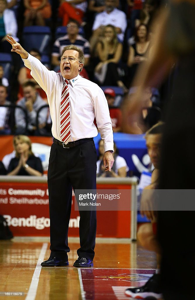 Hawks coach Gordie McLeod shouts instructions during game two of the NBL Semi Final series between the Wollongong Hawks and the Perth Wildcats at WIN Entertainment Centre on March 31, 2013 in Wollongong, Australia.