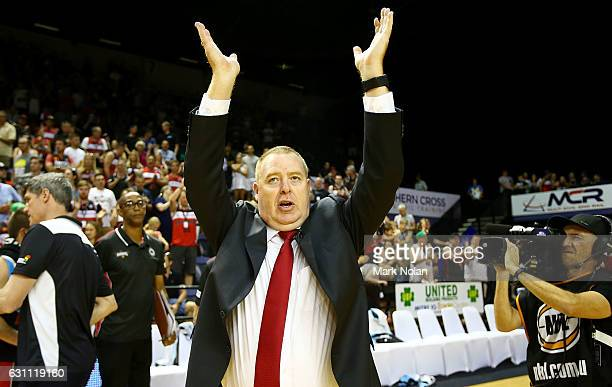 Hawks coach Rob Beveridge celebrates victory after the round fourteen NBL match between the Illawarra Hawks and Melbourne United at WIN Entertainment...