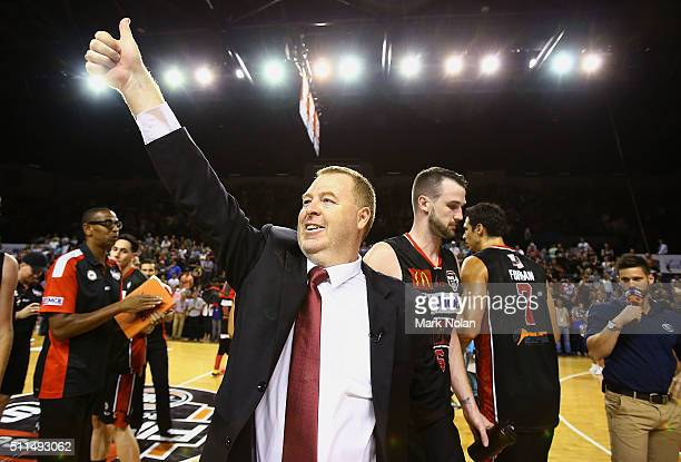 Hawks coach Rob Beveridge celebrates winning the NBL semi final match between the Illawarra Hawks and the Perth Wildcats at Wollongong Entertainment...