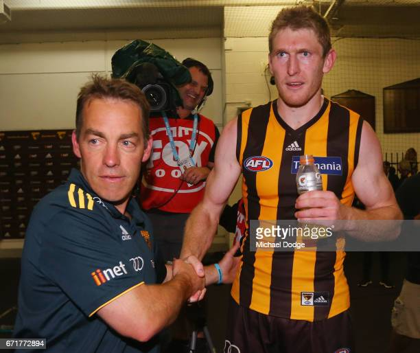 Hawks head coach Alastair Clarkson celebrates the win Ben McEvoy of the Hawks during the round five AFL match between the Hawthorn Hawks and the West...