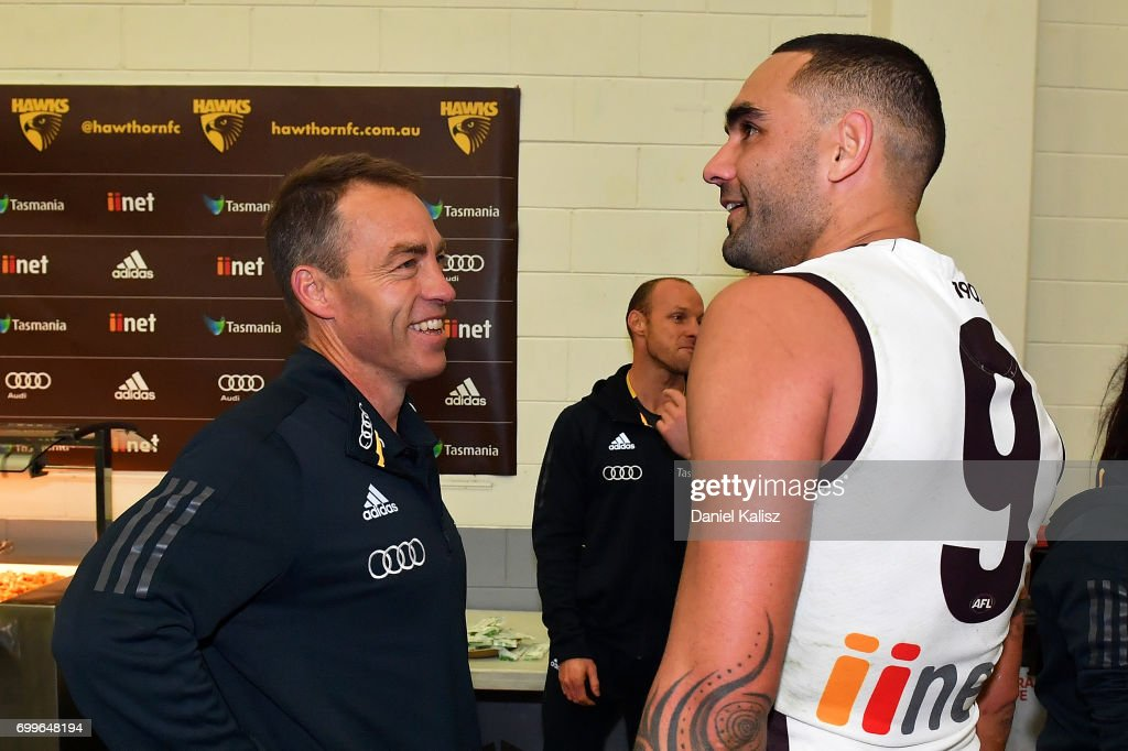 Hawks head coach Alastair Clarkson chats with Shaun Burgoyne of the Hawks after the round 14 AFL match between the Adelaide Crows and the Hawthorn Hawks at Adelaide Oval on June 22, 2017 in Adelaide, Australia.