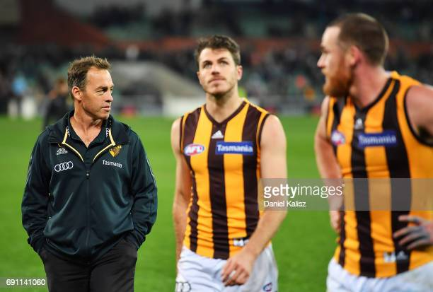 Hawks head coach Alastair Clarkson looks on after the round 11 AFL match between the Port Adelaide Power and the Hawthorn Hawks at Adelaide Oval on...