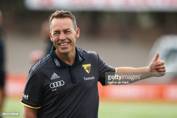 Hawks head coach Alastair Clarkson looks on during the JLT Community Series match between the Port Adelaide Power and the Hawthorn Hawks at...