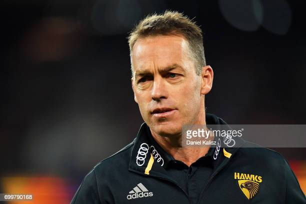 Hawks head coach Alastair Clarkson looks on during the round 14 AFL match between the Adelaide Crows and the Hawthorn Hawks at Adelaide Oval on June...